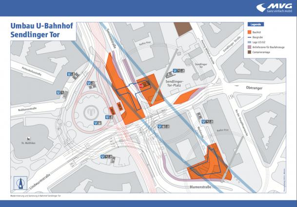 Offene Baugruben finden sich im Bereich der Sonnenstraße und an der Ecke Blumen-/Wallstraße zur Errichtung der neuen Erweiterungsbauwerke (Grafik: SWM/MVG)
