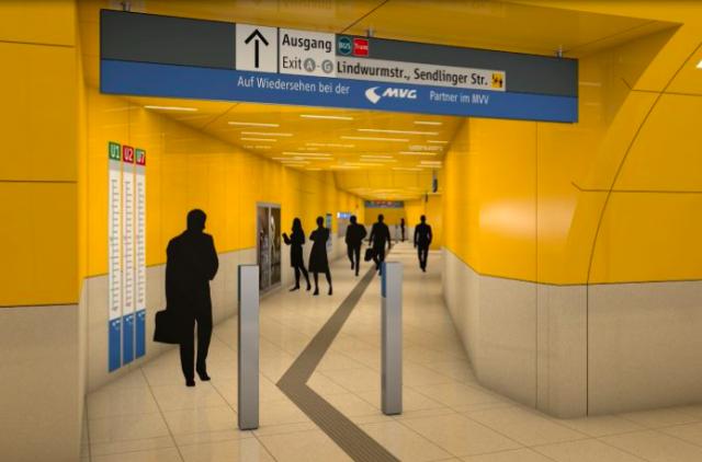 Am anderen Bahnsteigende wird ein neuer Zugang ins Sperrengeschoss geschaffen (Grafik: SWM/MVG)