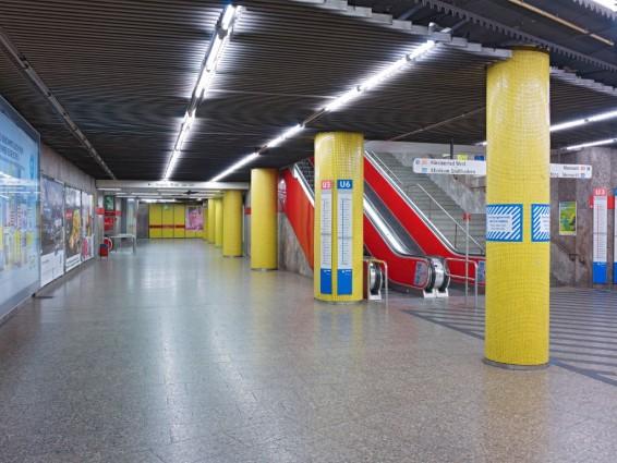 Der bisherige Umsteigebereich zur U3/6 auf der Ebene der Linien U1/U2/U7/U8 (Bild: SWM/MVG)