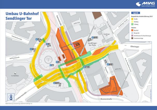 Geänderte Verkehrsführung ab den Osterferien: Zwischen Brunnenschleife und Matthäuskirche wird der Autoverkehr der Sonnenstraße provisorisch nach Süden geführt (Grafik: SWM/MVG)